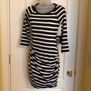 Express Dresses - Black White Dress EXPRESS Striped Ruched NWT